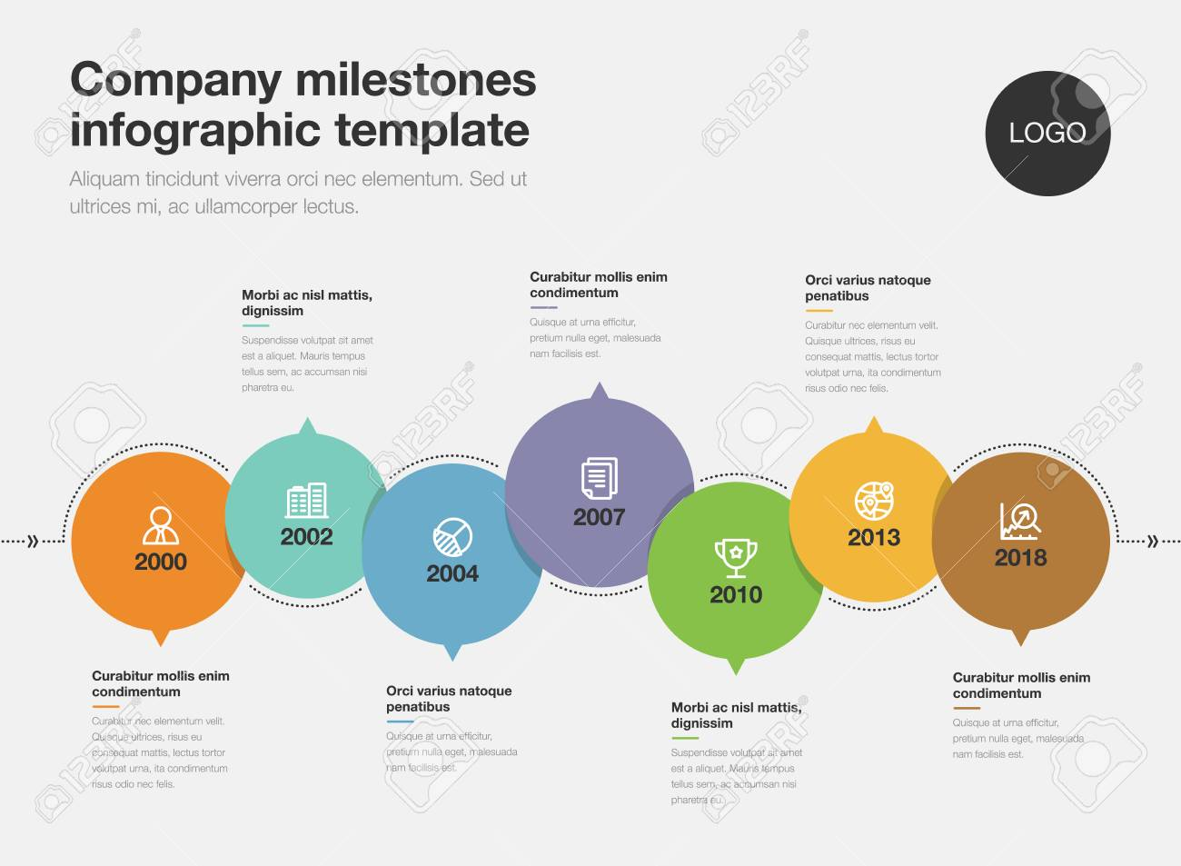 vector infographics for business milestones timeline template