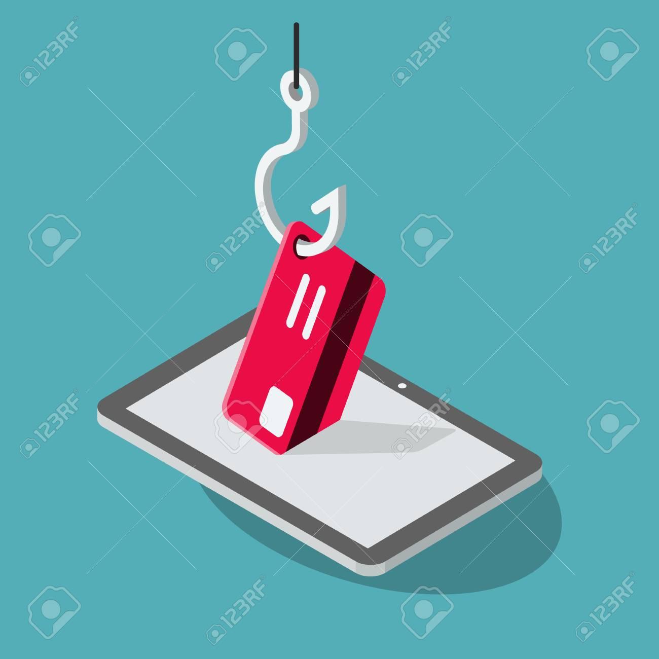 Phishing Scam isolated on white background  Flat design, easy