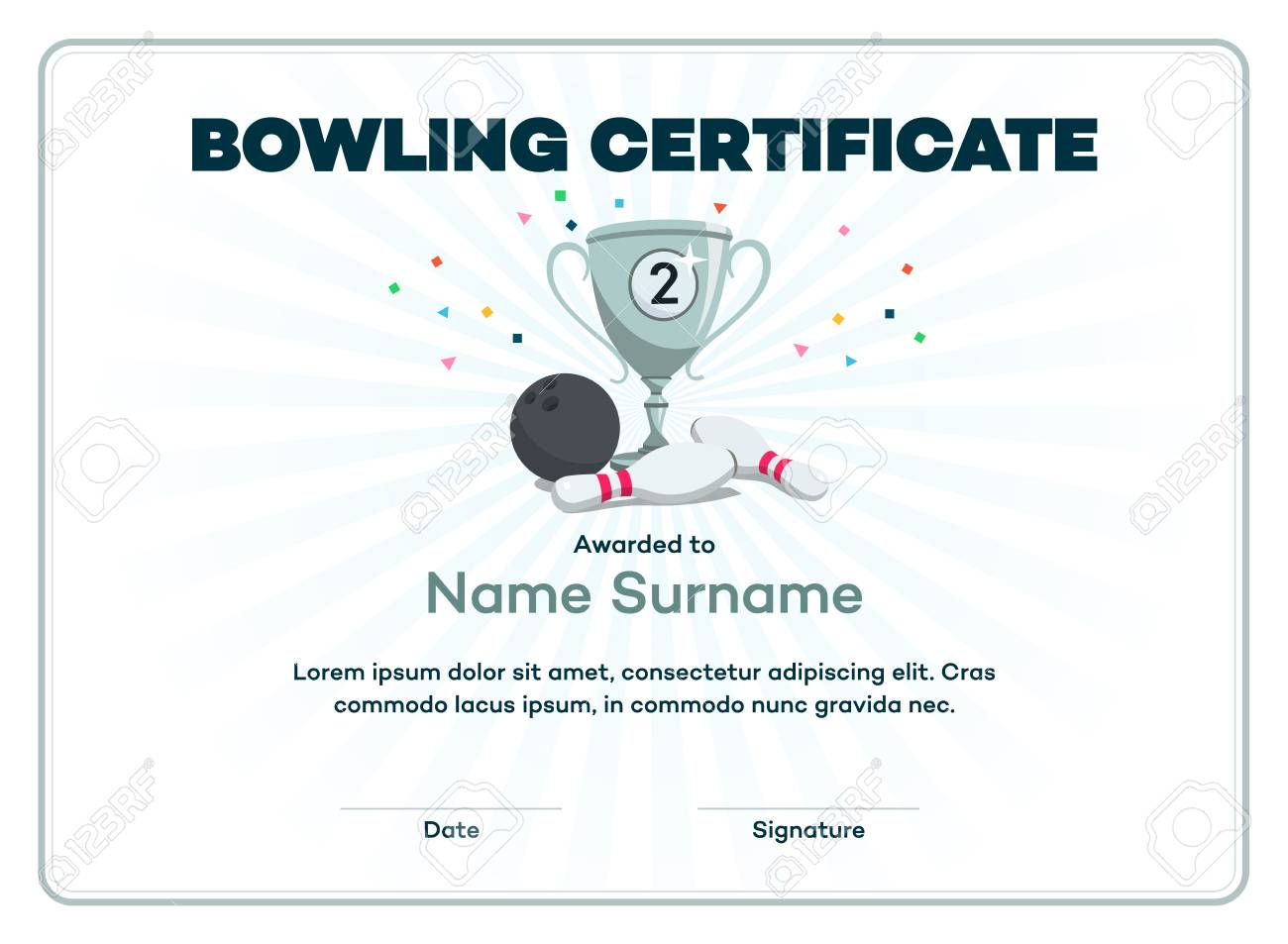Modern Second Place Bowling Certificate With A Silver Winning