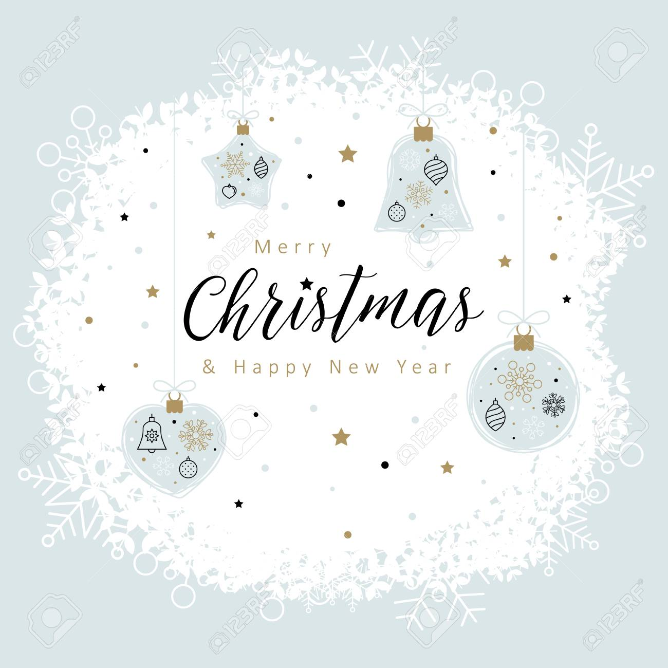 Christmas Card Template.Christmas Card Template With Christmas Decorations Made From