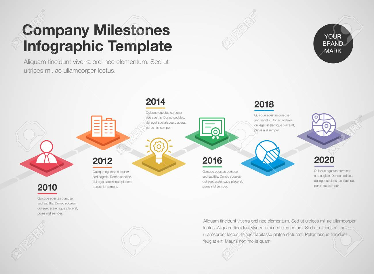 Simple Infographic For A Company Milestones Timeline Template