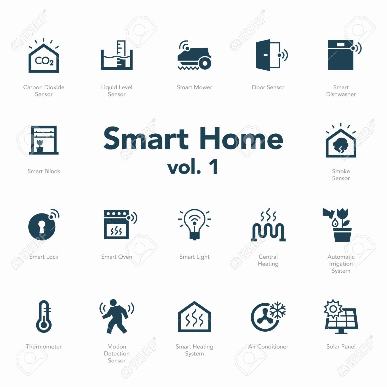 Smart home icon set volume 1 isolated on light background. Contains such icons Smart Heating System, Thermometer, Liquid Level Sensor, Motion Detection Sensor and more. - 132261114