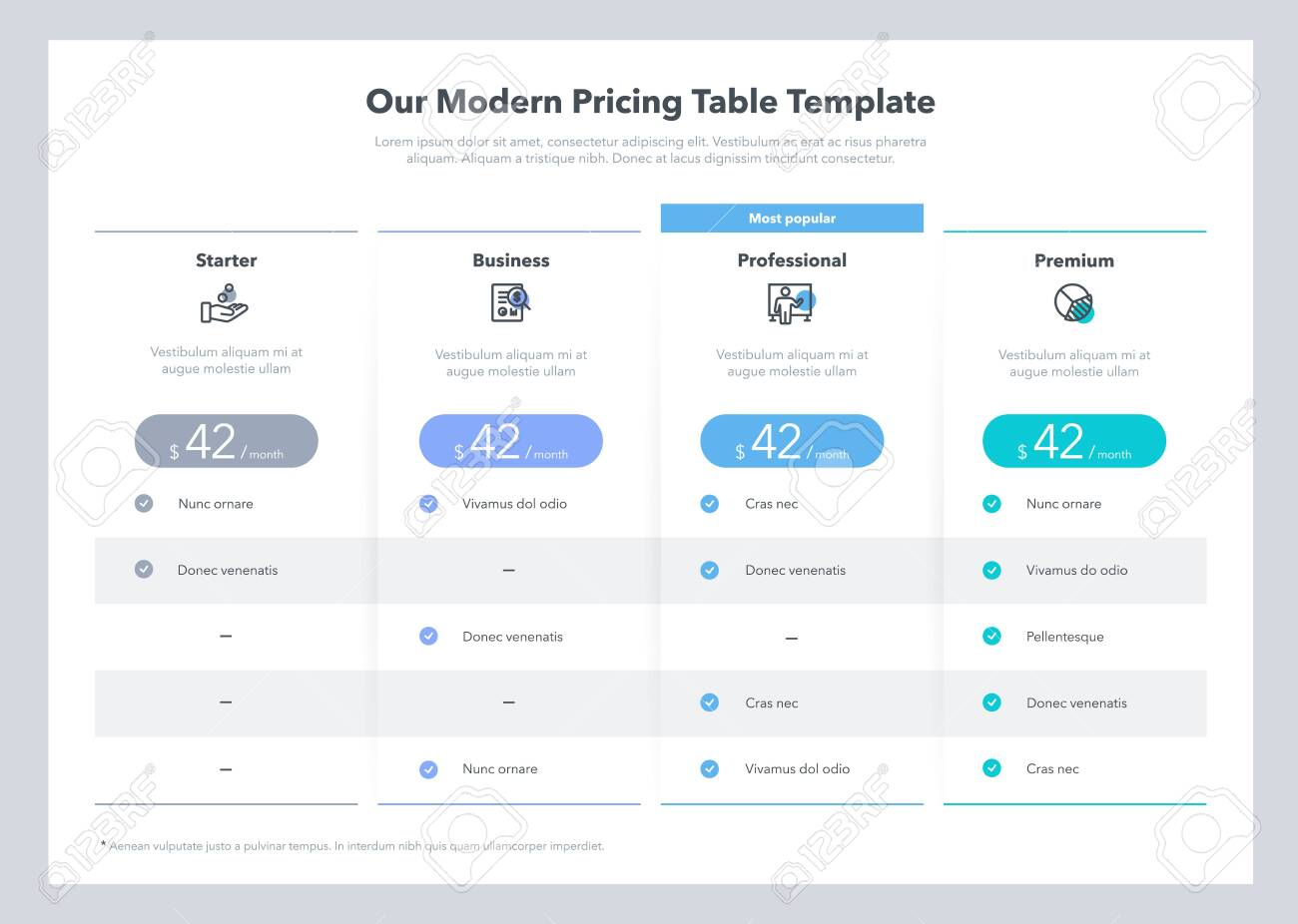 Modern looking pricing table design with four subscription plans. Flat infographic design template for website or presentation. - 144270443