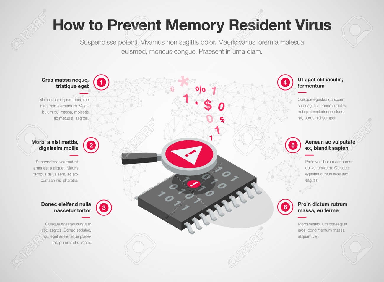 Infographic for how to prevent memory resident virus with memory chip, magnifier and warning symbol - isolated on light background. Easy to use for your website or presentation. - 145749228