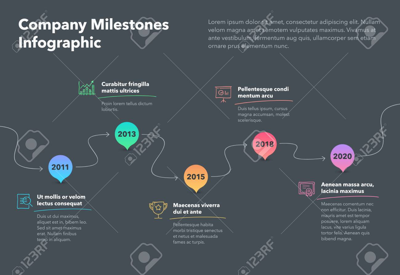 Modern company milestones timeline template with hand drawn icons and arrows - dark version. Easy to use for your website or presentation. - 153309574