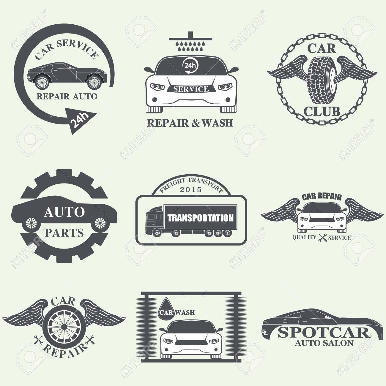 Set Of Car Service Labels, Emblems And Design Elements Royalty ...