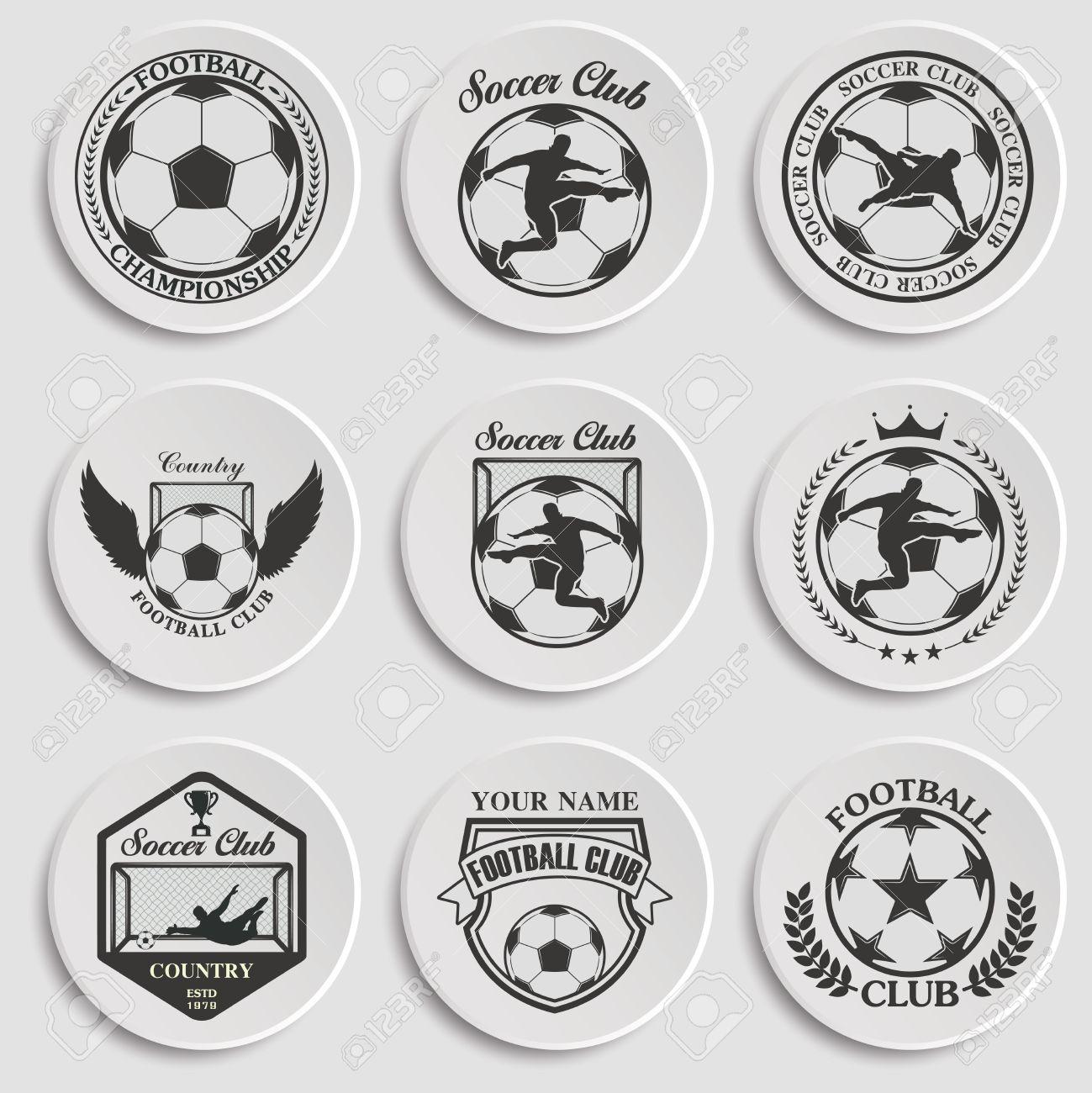 Set Von Fußball-Fußball-Abzeichen-Design-Vorlagen Lizenzfrei ...