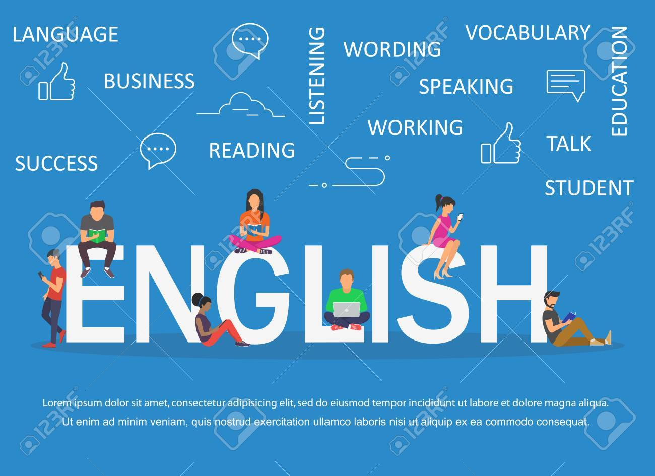 English word for education with icons flat design - 89178938