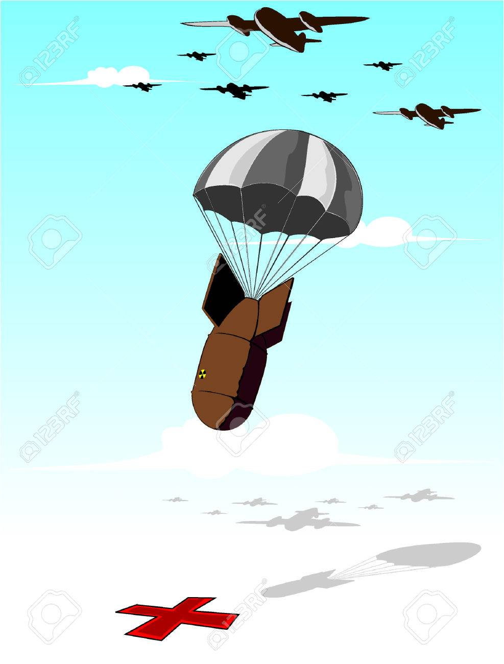 falling bomb illustration Stock Vector - 8350804