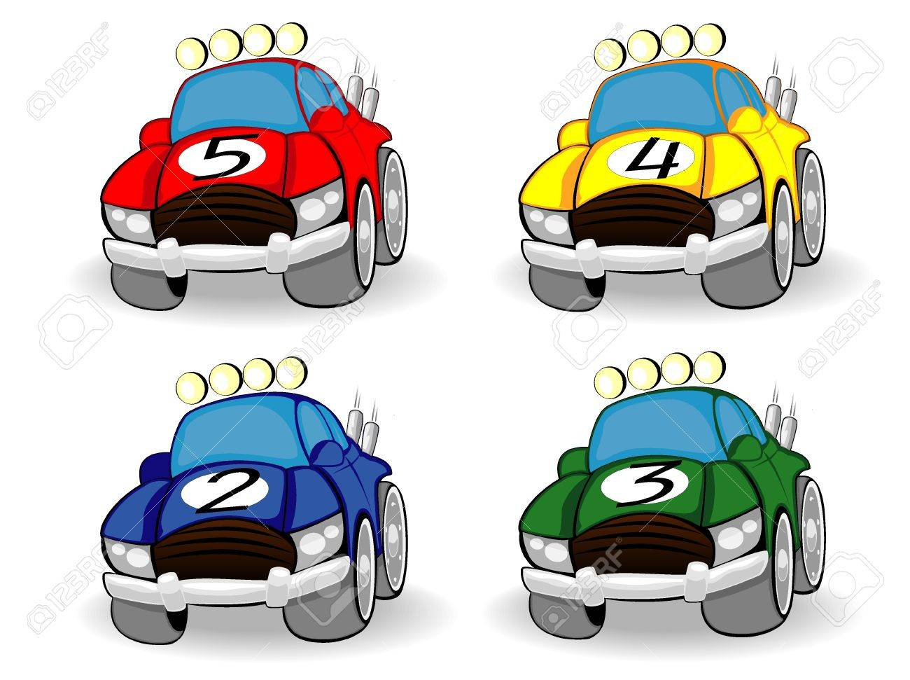 Set Of Color Racing Cars Royalty Free Cliparts Vectors And Stock