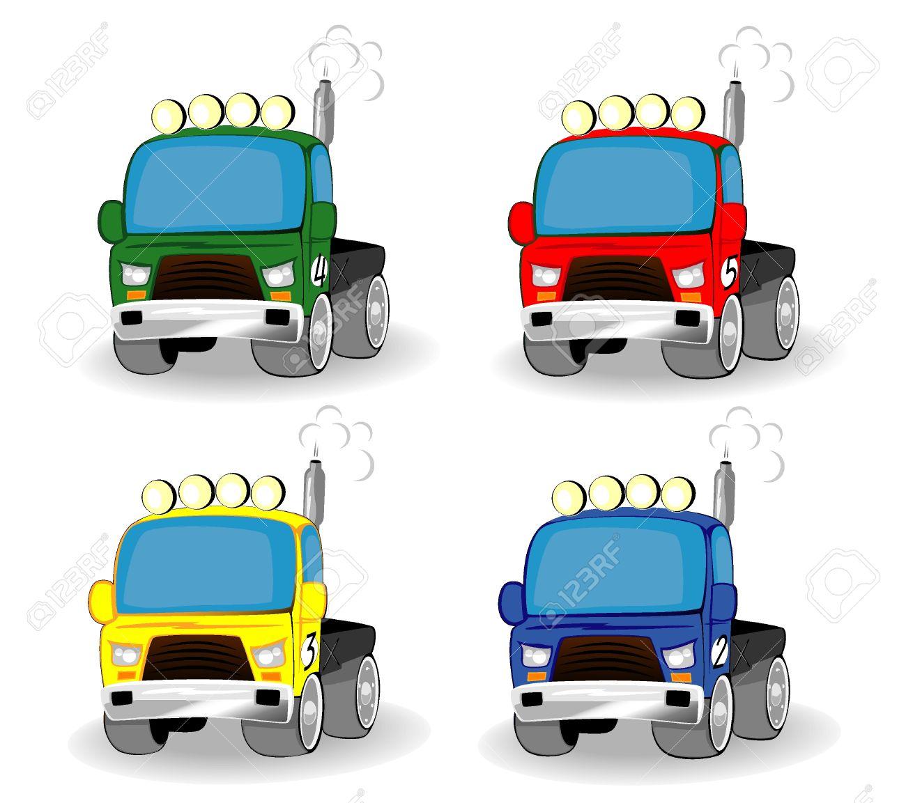 set of cartoon racing trucks Stock Vector - 10070154