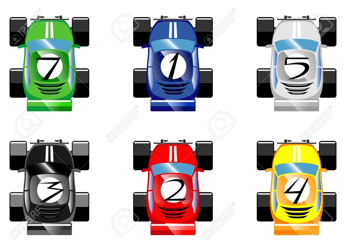 Set Of Cartoon Racing Cars Vector Royalty Free Cliparts Vectors