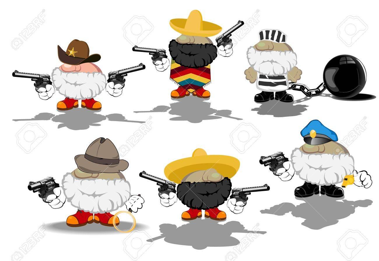 set of funny cartoon heroes Stock Vector - 14953403