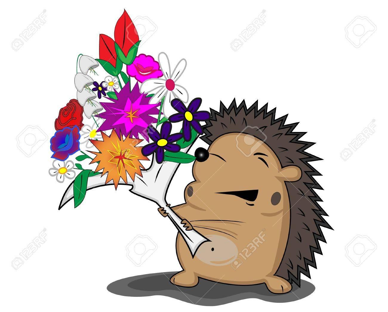 hedgehog with flowers Stock Vector - 16412753
