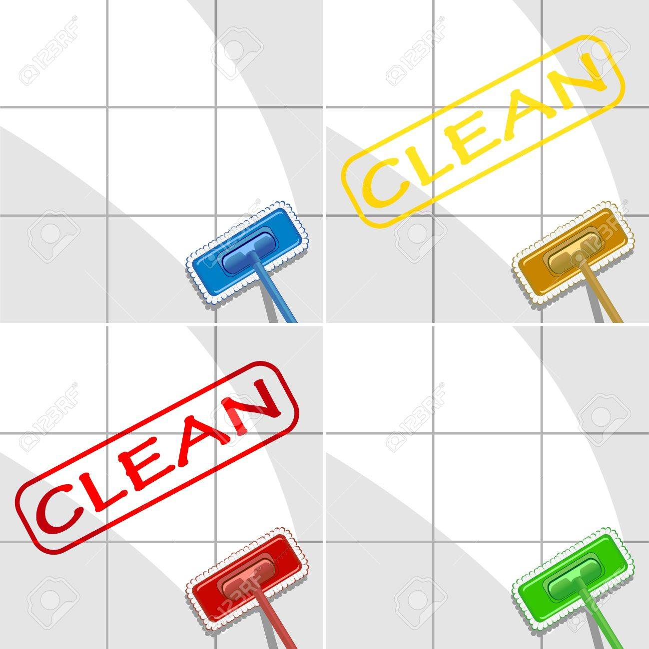 set of varicolored mops in action. vector illustration Stock Vector - 17325128