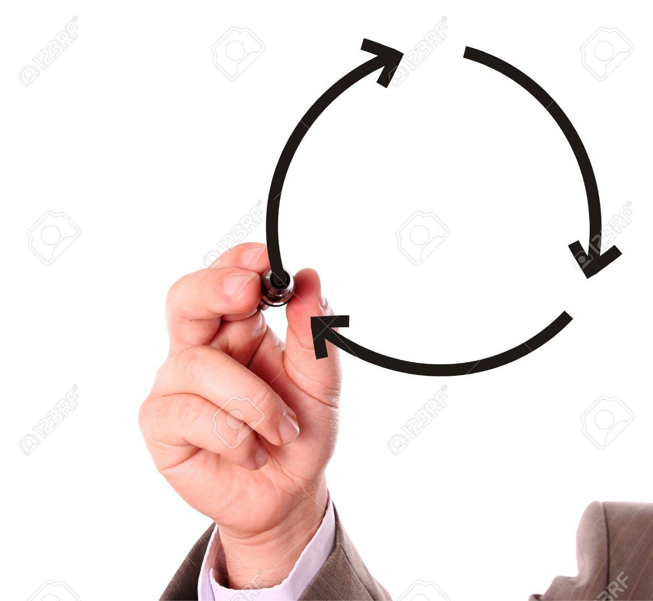 Businessman drawing recycling symbol on the whiteboard Stock Photo - 4235441