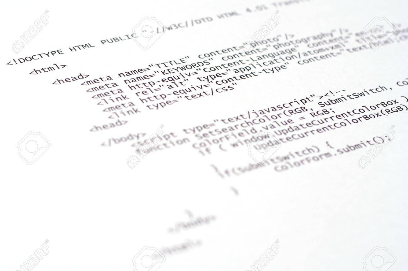Background image html code - Printed Internet Html Code Technology Background Stock Photo 4257790