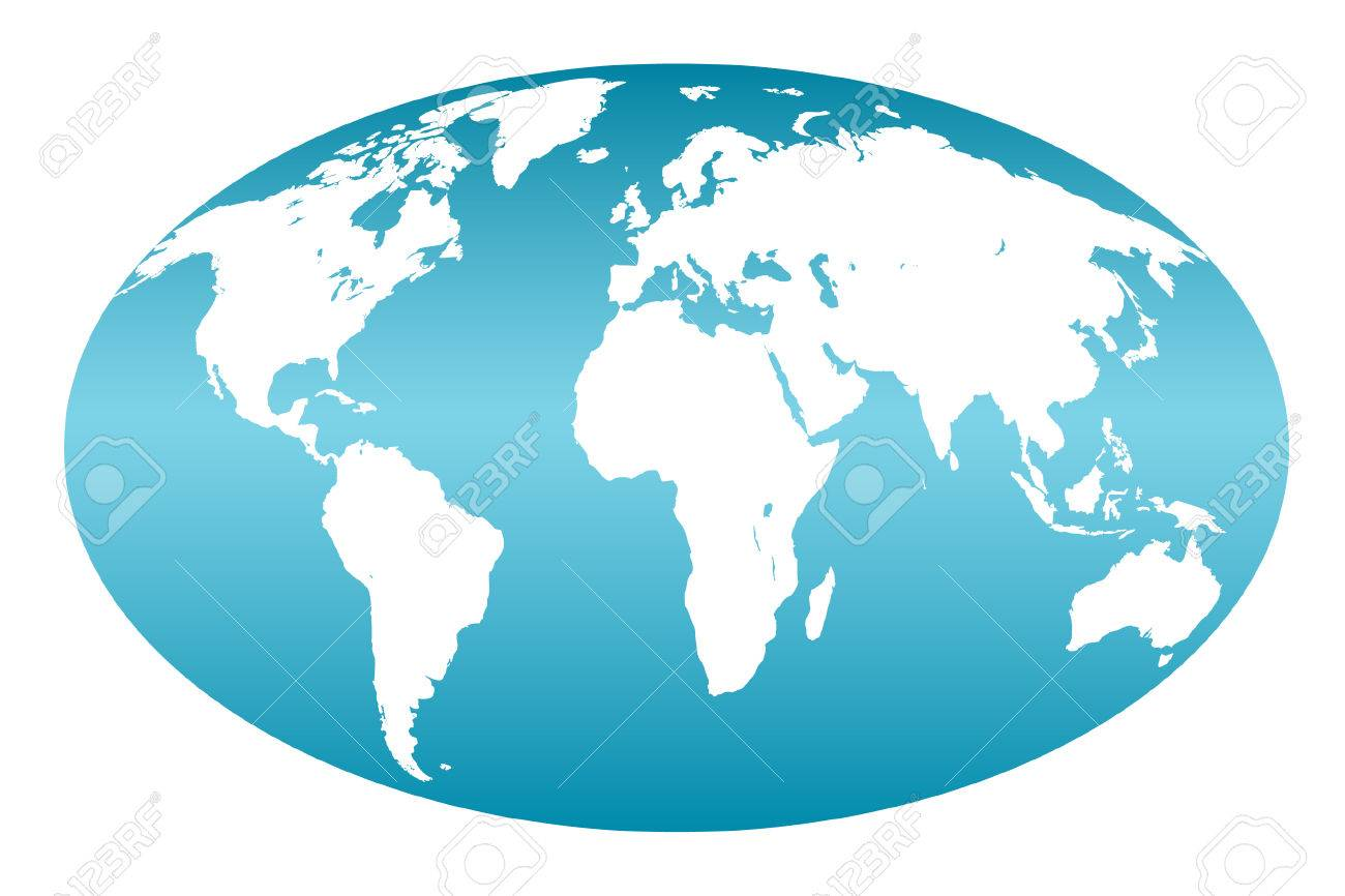 Blue map of the world on white Stock Vector - 4454297