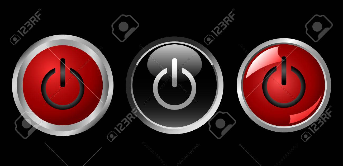 power button icons, red and black, vector Stock Vector - 4483995