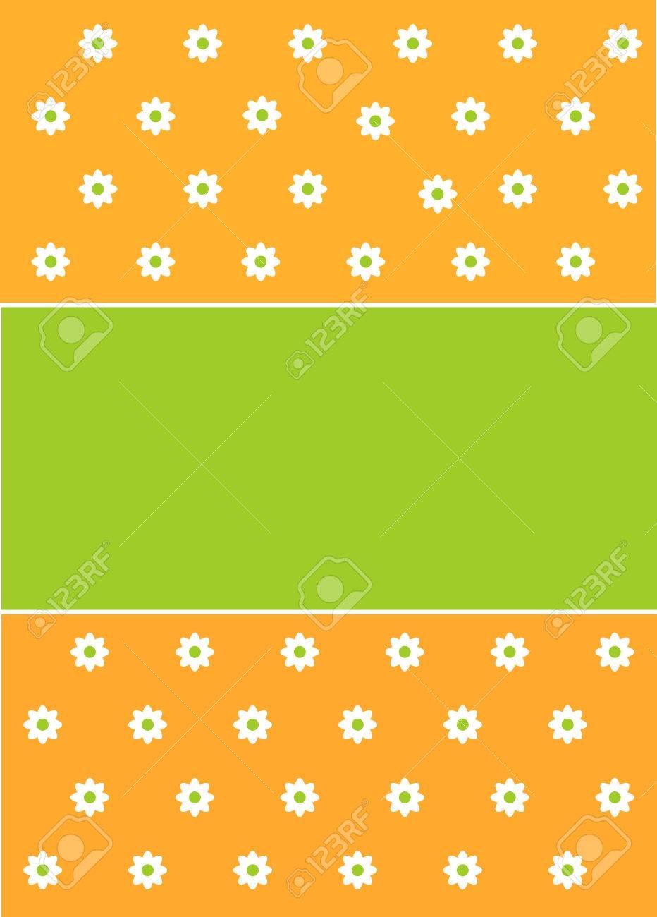 Vettoriale Primavera O Pasqua Sfondo Verde E Arancione Con Decoro