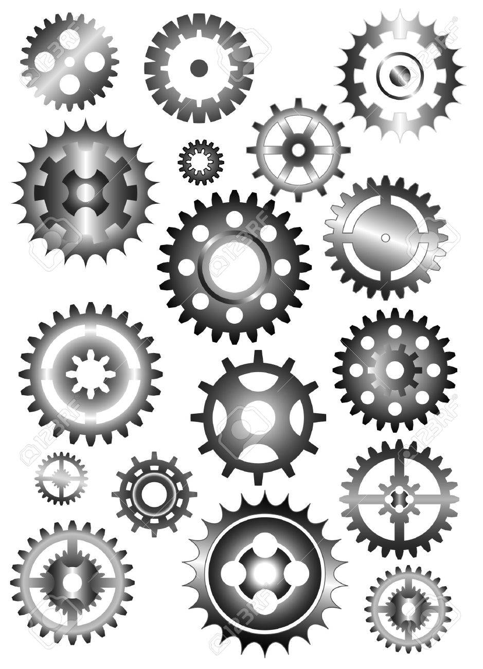set of gear wheels isolated on white Stock Vector - 4577608