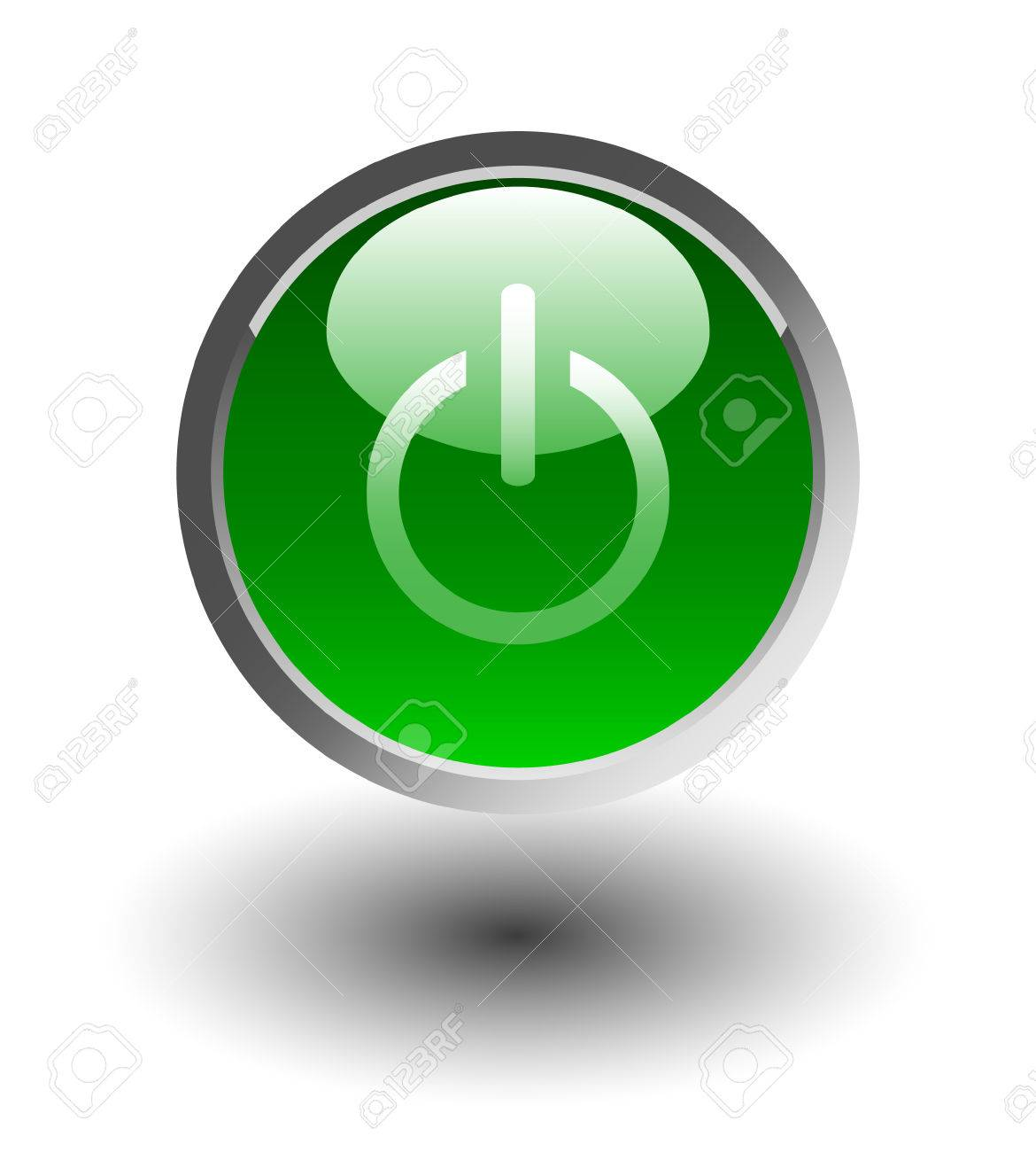Green glowing power on or off button Stock Vector - 4622812