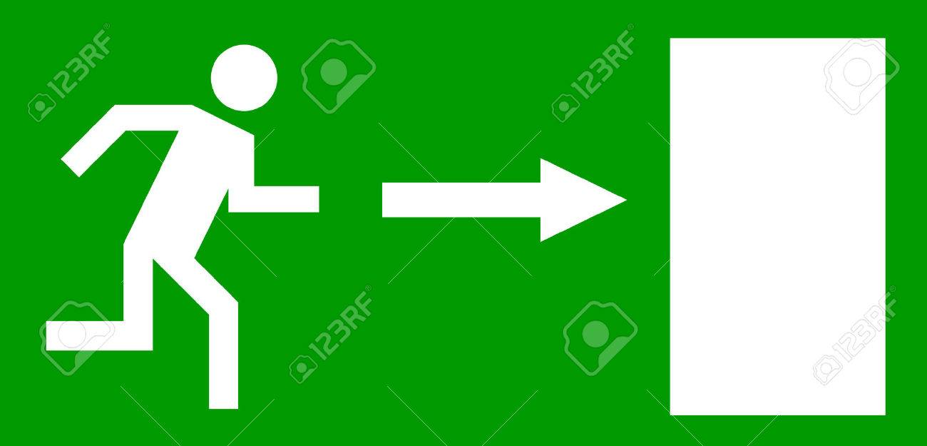 Emergency Exit Door, Sign With Human Figure Royalty Free Cliparts ...