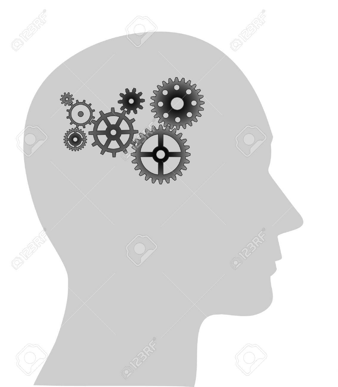 Illustration of cogs or gears in human head Stock Vector - 4671311