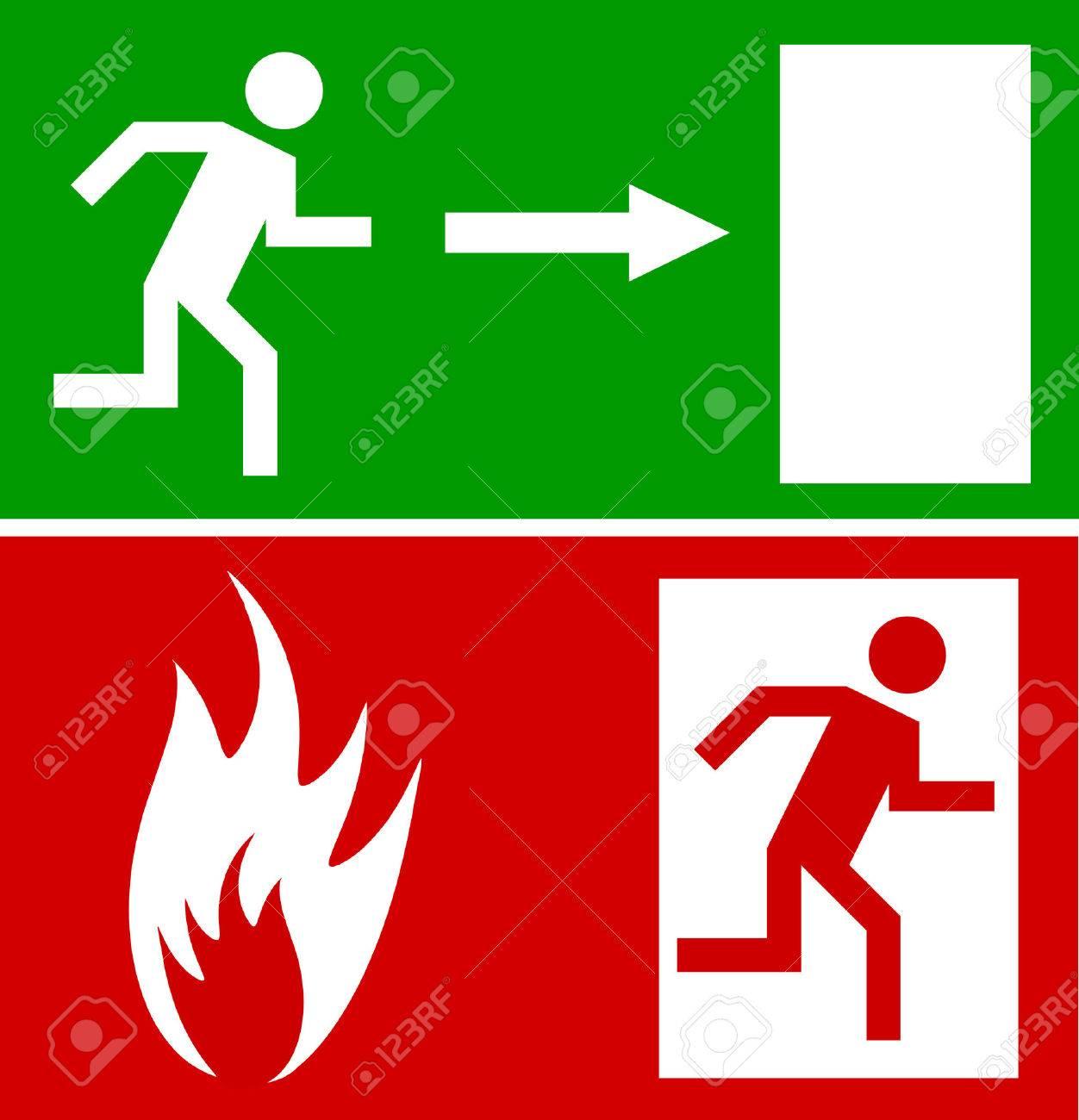 Emergency fire exit door and exit door, sign with human figure Stock Vector - 4890159