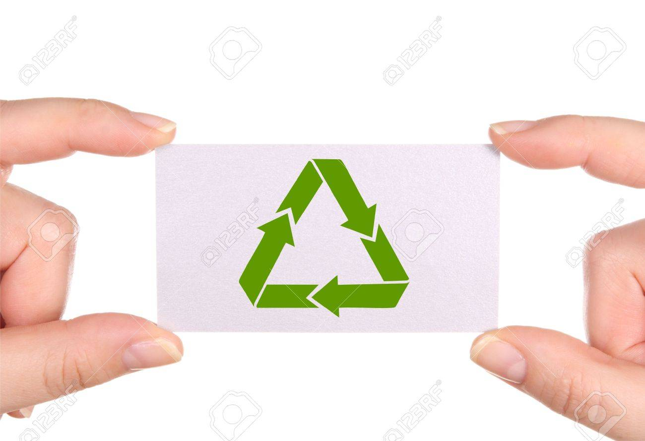business card with green  recycle icon- in hands, isolated on white background Stock Photo - 5043798