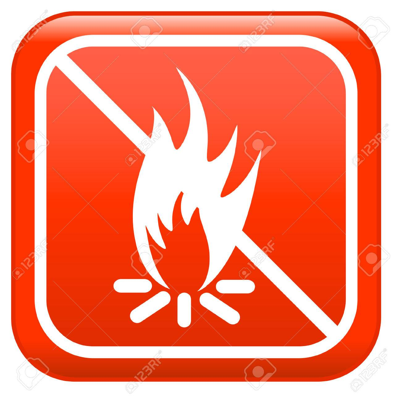 No camp-fire, red sign don't fire Stock Vector - 5962248
