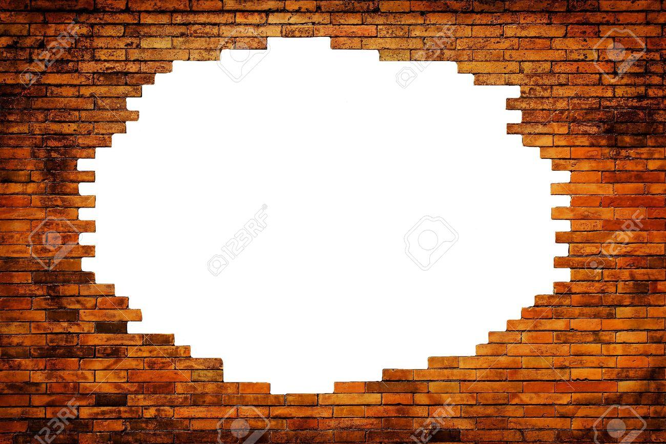 Bianco Buco Nel Muro Antico, Cornice In Mattoni Foto Royalty Free ...