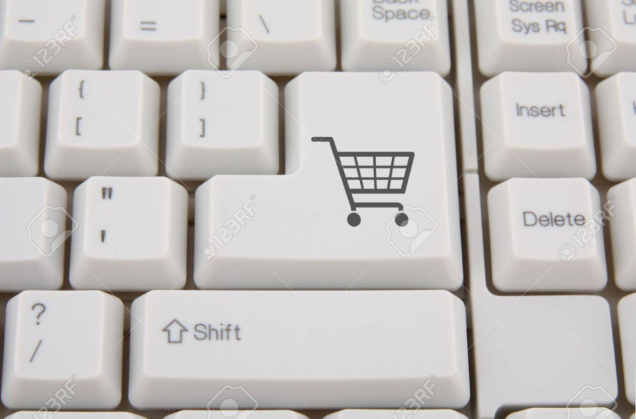 Keyboard with shopping cart symbol on a button Stock Photo - 6308572