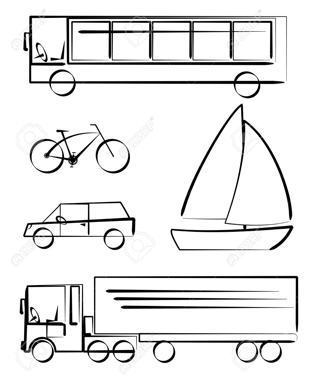 simple vetcor drawings of transportation vehicles royalty free