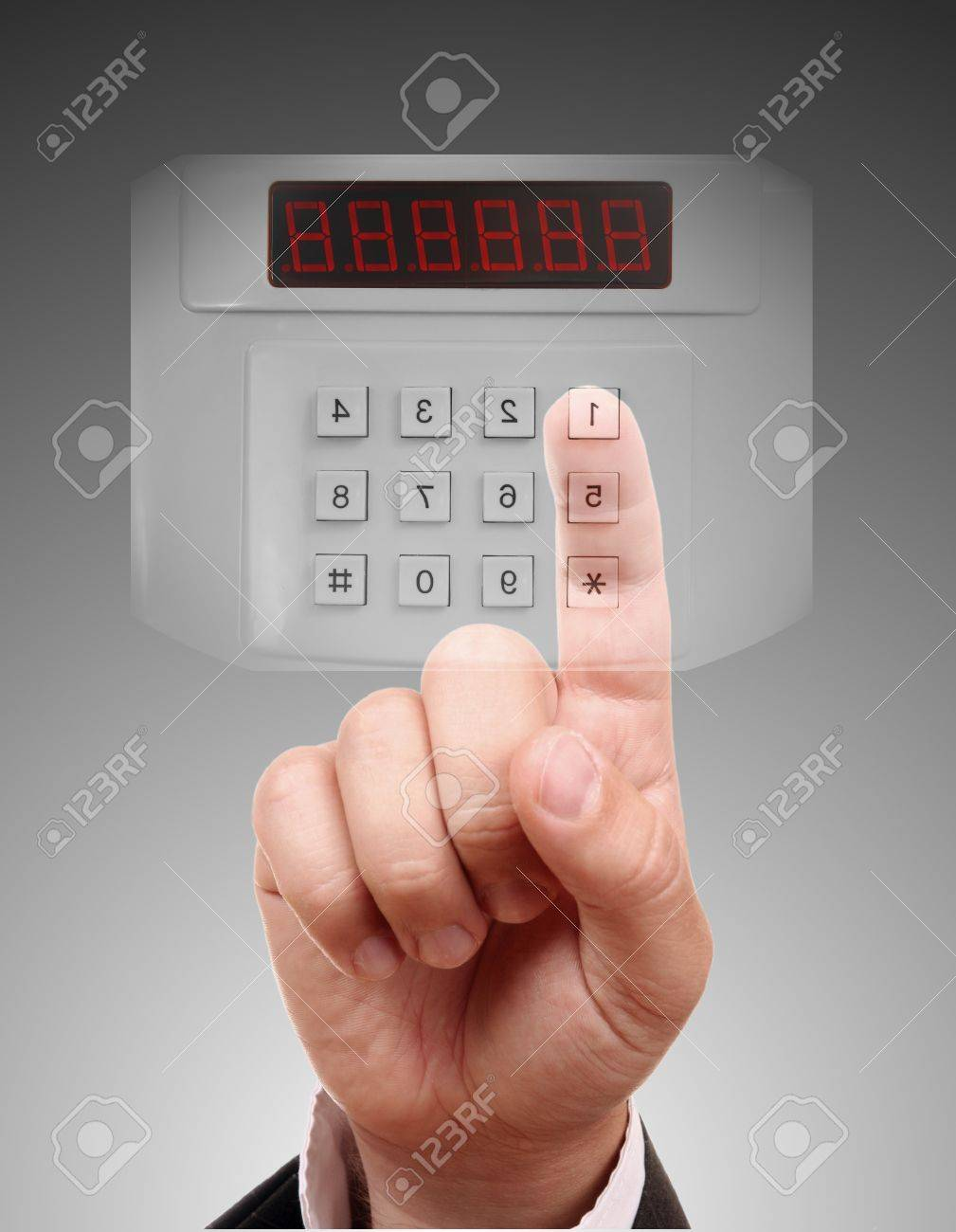 Man entering the door or safe, secure data by touch screen Stock Photo - 9694868