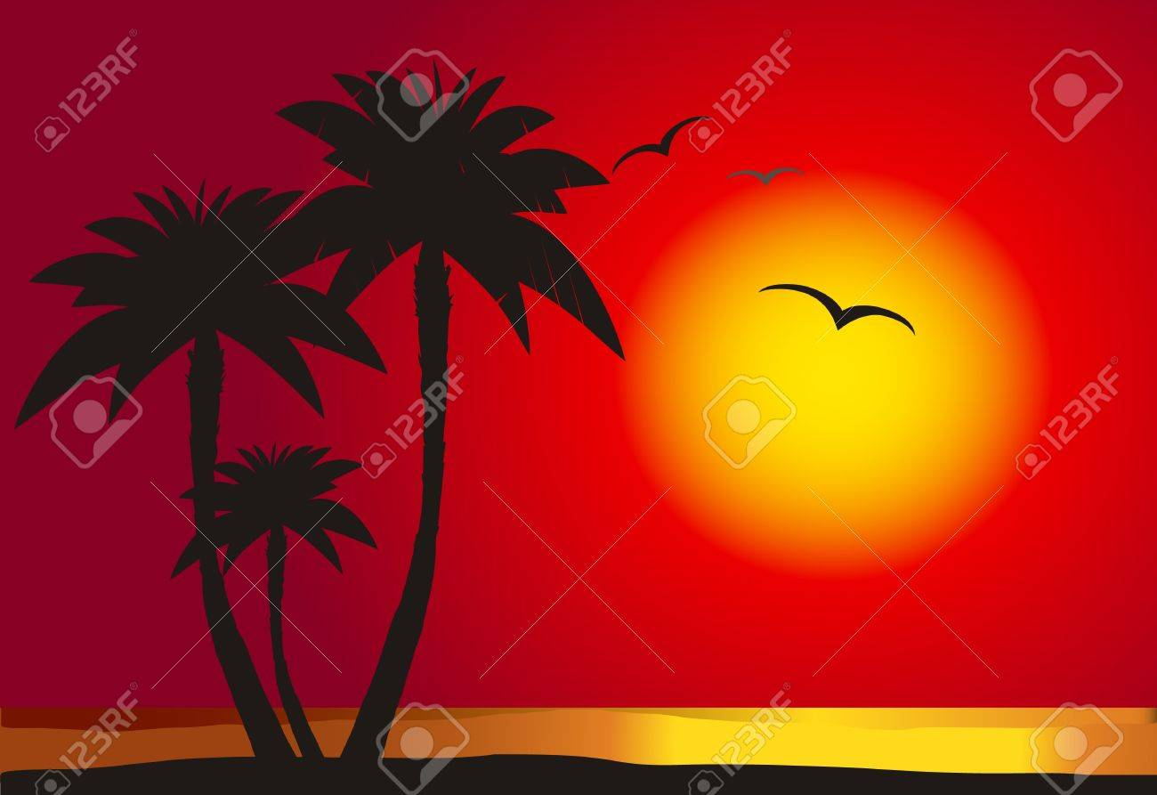Sunset on the beach with palm silhouette,  vector Stock Vector - 10886710
