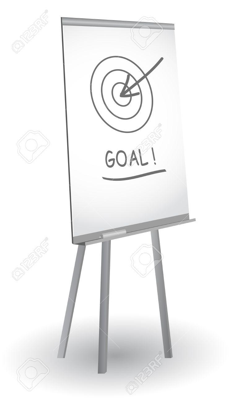 Flip chart with target, arrow and word Goal, vector Stock Vector - 10886708