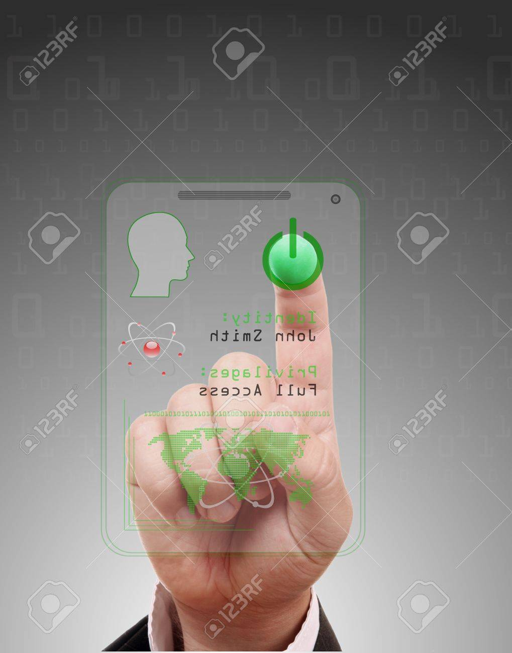 Man entering the door or secure data by touch screen Stock Photo - 16398310