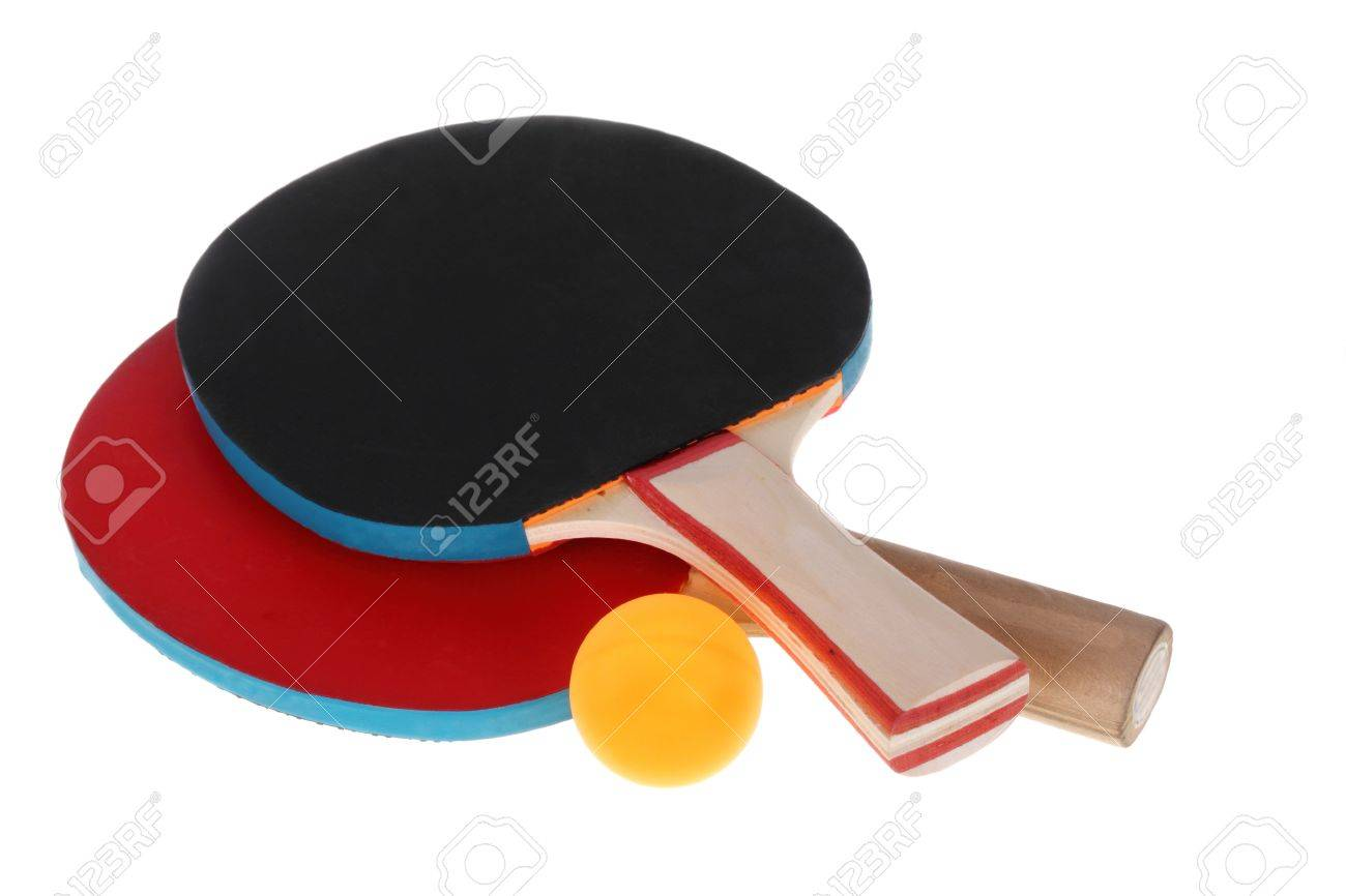 Table tennis rackets and ball on a white background Stock Photo - 16398309