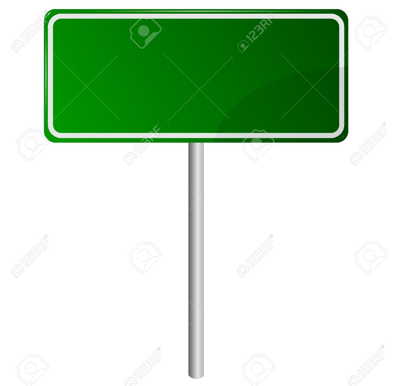 Blank Road Sign Board Blank Green Road Sign