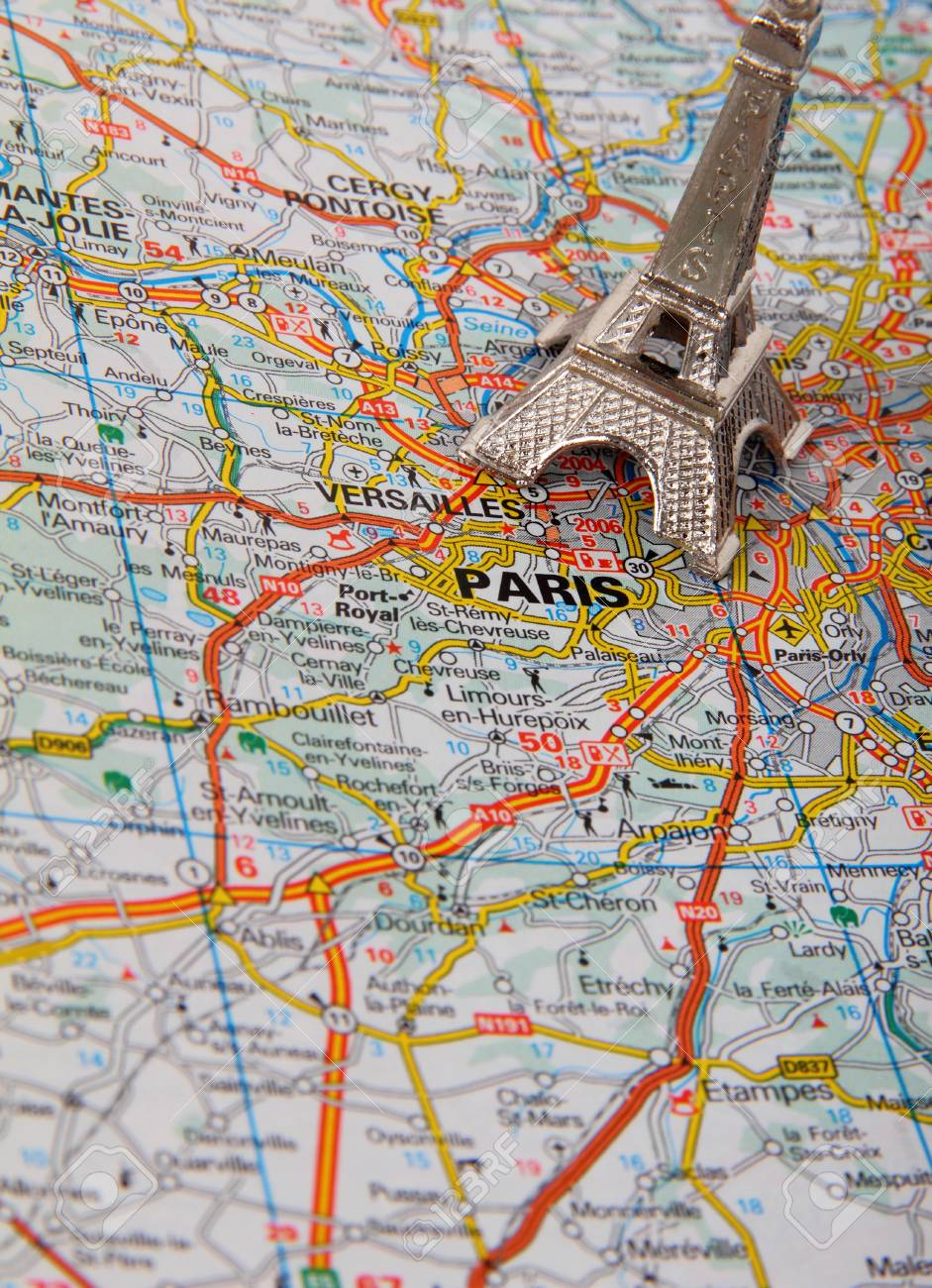 eiffel tower on a map of paris short focus stock photo 24499671