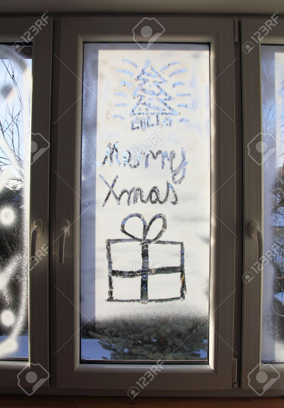 christmas window background decoration from artificial snow stock photo 24533377 - Fake Snow Decoration
