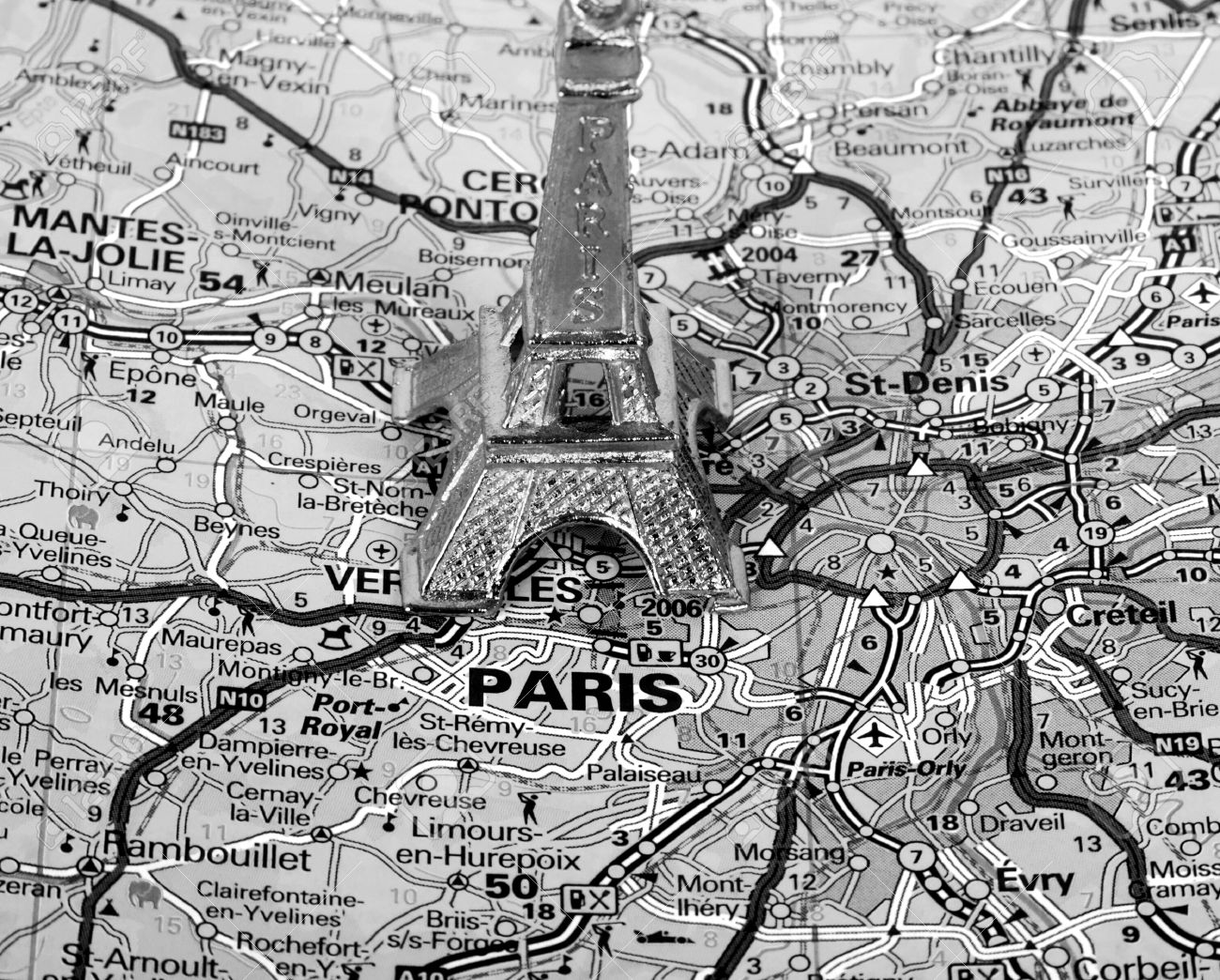 Paris Map Black And White.Eiffel Tower On A Map Of Paris Short Focus Black And White Stock