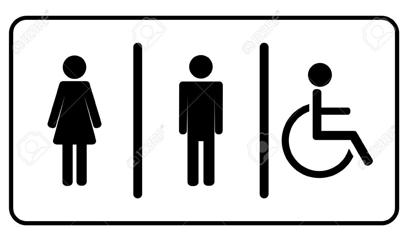 man woman and invalid one restroom toilet symbol stock vector 28461277 - Bathroom Symbol