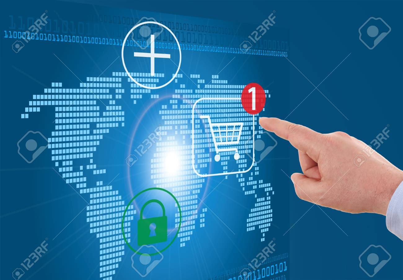 Businessman pressing cart button on world map modern online businessman pressing cart button on world map modern online shopping stock photo 28598542 gumiabroncs Gallery