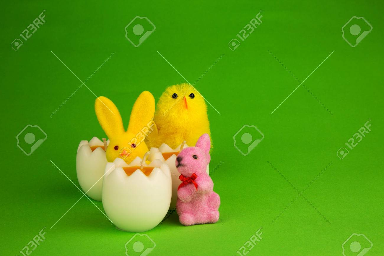Wonderful Three Decorative Easter Candles In The Shape Of Half An Egg, Two Colored  Figurines Easter Pictures Gallery