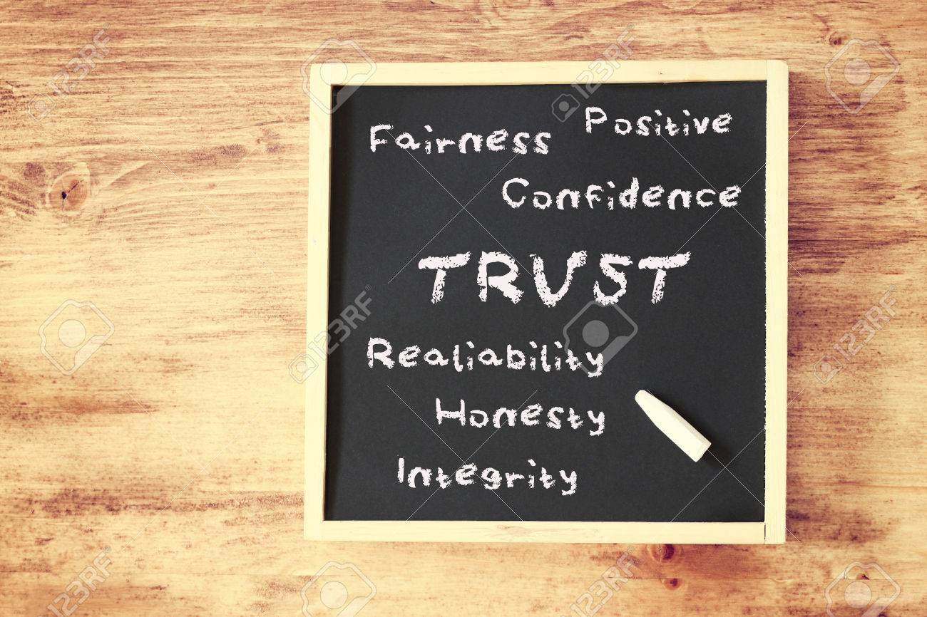 trust concept written on chalkboard Stock Photo - 27124852