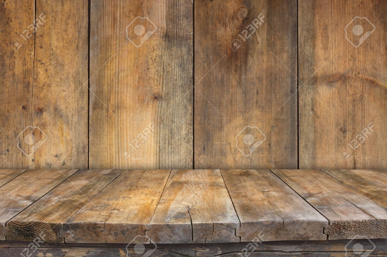 Old wooden boards as background - Grunge Vintage Wooden Board Table In Front Of Old Wooden Background Ready For Product Display