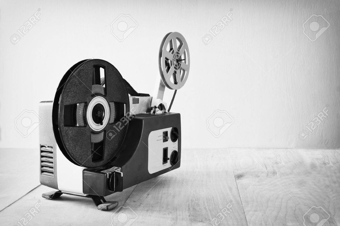 abstract black and white image of old 8mm Film Projector over