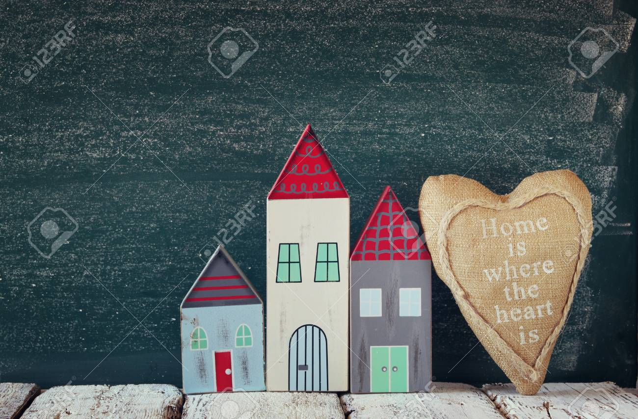 Image Of Vintage Wooden Colorful Houses And Fabric Heart On Wooden Stock Photo Picture And Royalty Free Image Image 49075155
